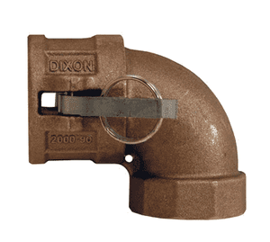 "200D-90BR Dixon 2"" Brass Type D Cam and Groove 90 deg. Elbow - Female Coupler x Female NPT"