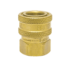 "12FS-101 ZSi-Foster Quick Disconnect FST Series Socket - Straight Thru - 1/8"" FPT - Brass, w/Viton Seal"