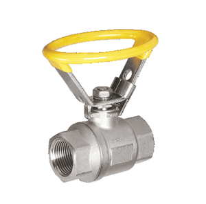 "130G43 RuB Inc. Full Port Stainless Steel Ball Valve - 1-1/4"" Female NPT x 1-1/4"" Female NPT - with Oval Locking Blue Handle"