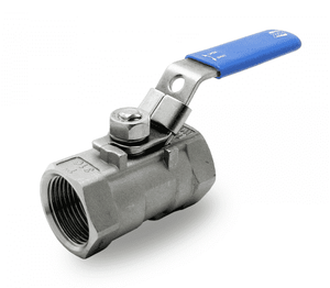 "131H41 RuB Inc. Reduced Port Stainless Steel Ball Valve - 1-1/2"" Female NPT x 1-1/2"" Female NPT - with Locking Blue Handle"