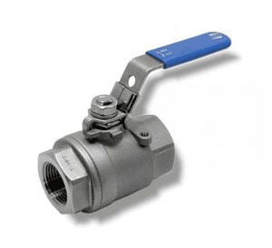 "132G41 RuB Inc. Full Port Stainless Steel Ball Valve - 1-1/4"" Female NPT x 1-1/4"" Female NPT - with Locking Blue Handle"