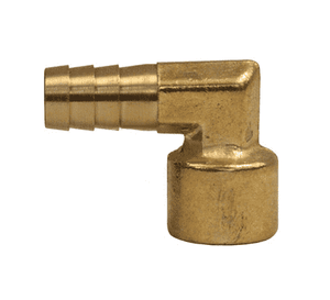 "134-0404 Dixon Brass Female Insert 90 Deg. Barbed Hose Elbow - Forged - 1/4"" Hose ID x 1/4"" NPTF Thread"