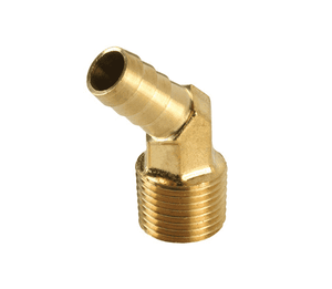 "139-0404 Dixon Brass Male Insert 45 Deg. Barbed Hose Elbow - Forged - 1/4"" Hose ID x 1/4"" NPTF Thread"