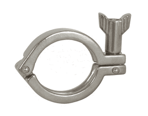 "13MHHM50-75SN Dixon 304 Stainless Steel Single Pin Heavy Duty Sanitary Clamp with Serrated Wing Nut - 1/2"" - 3/4"" Tube OD"
