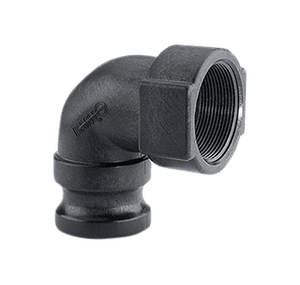 "150A90 Banjo Polypropylene 90 deg. Cam Lever Coupling - Part A - 1-1/2"" 90 deg. Male Adapter x 1-1/2"" Female Thread - 125 PSI - Gasket: EPDM"