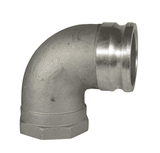 "150A-90AL Dixon 1-1/2"" 356T6 Aluminum Type A Cam and Groove 90 deg. Elbow - Male Adapter x Female NPT"