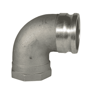 "400A-90AL Dixon 4"" 356T6 Aluminum Type A Cam and Groove 90 deg. Elbow - Male Adapter x Female NPT"