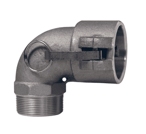 "150B-90AL Dixon 1-1/2"" 356T6 Aluminum Type B Cam and Groove 90 deg. Elbow - Female Coupler x Male NPT"