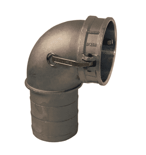 "400C-90AL Dixon 4"" 356T6 Aluminum Type C Cam and Groove 90 deg. Elbow - Female Coupler x Hose Shank"