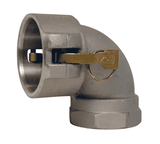 "150D-90AL Dixon 1-1/2"" 356T6 Aluminum Type D Cam and Groove 90 deg. Elbow - Female Coupler x Female NPT"