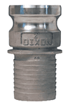 "150ENOSSS Dixon 1-1/2"" 316 Stainless Steel Type E Male Adapter x Notched NOS Hose Shank"