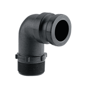 "150F90 Banjo Polypropylene 90 deg. Cam Lever Coupling - Part F - 1-1/2"" 90 deg. Male Adapter x 1-1/2"" Male Thread - 125 PSI - Gasket: EPDM"