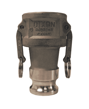 "2520-DA-SS Dixon 2-1/2"" x 2"" 316 Stainless Steel Reducing Cam and Groove Coupler x Adapter"