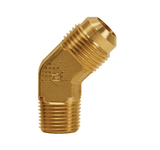 "159F-6-4 Dixon Brass SAE 45 deg. Flare Fitting - 45 deg. Elbow - 3/8"" Tube Size x 1/4"" Pipe Size"