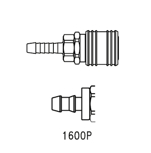 1600P Eaton 1000 Series Female Socket 1/4 Hose Stem End Connection Pneumatic Quick Disconnect Coupling (for use with push-on style hose) - Brass