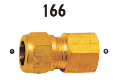 166-06-04 Adaptall Brass -06 Compression x -04 Female BSP Solid Adapter