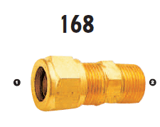 168-04-04 Adaptall Brass -04 Compression x -04 Male BSPT Adapter