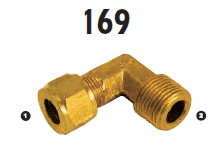 169-08-06 Adaptall Brass 90 deg. -08 Compression x -06 Male BSPT Elbow