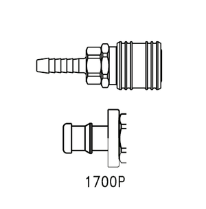 1700P Eaton 1000 Series Female Socket 3/8 Hose Stem End Connection Pneumatic Quick Disconnect Coupling (for use with Push-on style hose) - Brass
