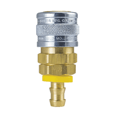 "1714 ZSi-Foster Quick Disconnect 1-Way Manual Socket - 3/8"" ID - Push-On Hose Stem - Brass/Steel"