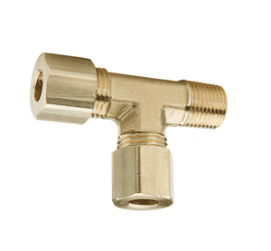 "171C-0404 Dixon Brass Compression Fitting - Male Run Tee - 1/4"" Tube Size x 1/4"" Pipe Thread"