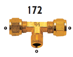 172-06-06 Adaptall Brass -06 Compression x -06 Male BSPT Branch Tee