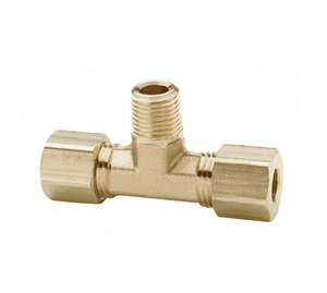 "172C-0404 Dixon Brass Compression Fitting - Male Branch Tee - 1/4"" Tube Size x 1/4"" Pipe Thread"