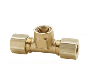 "177C-0402 Dixon Brass Compression Fitting - Female Branch Tee - 1/4"" Tube Size x 1/8"" Pipe Thread"