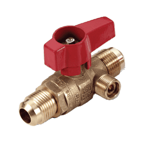 "195D30S RuB Inc. Side Drain Gas Cock Gas Service Ball Valve - Brass - 1/2"" Flare End x 1/2"" Flare End with Aluminum Red Wedge Handle"