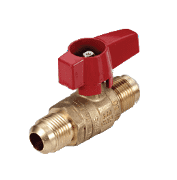 "195D30 RuB Inc. Gas Cock Gas Service Ball Valve - Brass - 1/2"" Flare End x 1/2"" Flare End with Aluminum Red Wedge Handle"