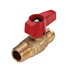 "195D34 RuB Inc. Gas Cock Gas Service Ball Valve - Brass - 1/2"" Flare End x 1/2"" Male NPT with Aluminum Red Wedge Handle"