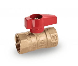 "195D41 RuB Inc. Gas Cock Gas Service Ball Valve - Brass - 1/2"" Female NPT x 1/2"" Female NPT with Aluminum Red Wedge Handle"