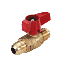 "195D32 RuB Inc. Gas Cock Gas Service Ball Valve - Brass - 1/2"" Flare End x 3/8"" Flare End with Aluminum Red Wedge Handle"