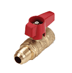 "195D33 RuB Inc. Gas Cock Gas Service Ball Valve - Brass - 1/2"" Female NPT x 3/8"" Female Flare End with Aluminum Red Wedge Handle"