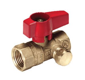 "195D41S RuB Inc. Side Drain Gas Cock Gas Service Ball Valve - Brass - 1/2"" Female NPT x 1/2"" Female NPT with Red Aluminum Handle"