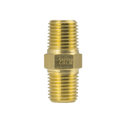 "2M2M ZSi-Foster Push-On Hose Fitting - Brass Hex Nipple - 1/4"" x 1/4"" Male NPT"