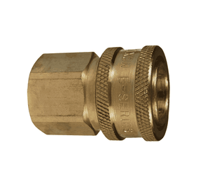 "4EF4-B Dixon Brass E-Series Quick Disconnect 1/2"" Straight-Through Interchange Hydraulic Coupler - 1/2""-14 Female NPTF"