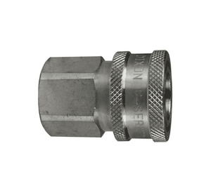 "10EF10-S Dixon 303 Stainless Steel E-Series Quick Disconnect 1-1/4"" Straight-Through Interchange Hydraulic Coupler - 1-1/4""-11-1/2 Female NPTF"