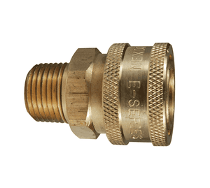 "2EM2-B Dixon Brass E-Series Quick Disconnect 1/4"" Straight-Through Interchange Hydraulic Coupler - 1/4""-18 Male NPTF"
