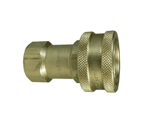 "6HF6-B Dixon Brass H-Series Quick Disconnect 3/4"" ISO-B Interchange Hydraulic Coupler - 3/4""-14 Female NPTF"