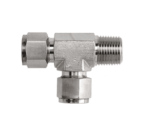"6-DTMT-4 Dixon Instrumentation Fitting - Stainless Steel Male Run Tee - 3/8"" Tube OD x 1/4""-18 Male NPT (Pack of 10)"