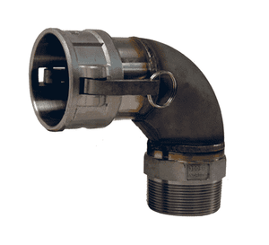 "300B-90SS Dixon 3"" 316 Stainless Steel Type B Cam and Groove 90 deg. Elbow - Female Coupler x Male NPT"