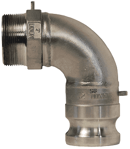 "300F-90SS Dixon 3"" 316 Stainless Steel Type F Cam and Groove 90 deg. Elbow - Male Adapter x Male NPT"
