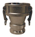 "3015-DA-SS Dixon 3"" x 1-1/2"" 316 Stainless Steel Reducing Cam and Groove Coupler x Adapter"