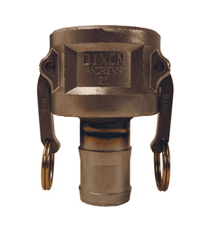 "1510-C-SS Dixon 1-1/2"" x 1"" 316 Stainless Steel Type C Reducing Female Coupler x Hose Shank"