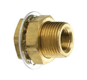 "207BH6 Dixon Brass Bulkhead Anchor Coupling Adapter - 3/8"" Female NPTF x 1""-14 Male UNF"