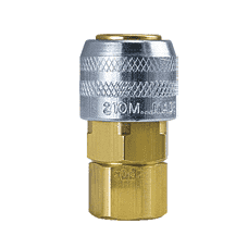 "210M-3003NP ZSi-Foster Quick Disconnect 210 Series 1/4"" Manual Socket - 1/4"" FPT - Brass/Steel Nickel Plated Sleeve"