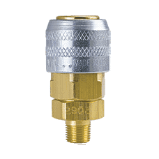 "210M-3103NP ZSi-Foster Quick Disconnect 210 Series 1/4"" Manual Socket - 1/4"" MPT - Brass/Steel Nickel Plated Sleeve"