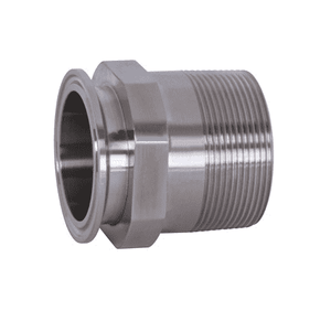 "21MP-G200 Dixon 304 Stainless Steel Sanitary Clamp x Male NPT Adapter - 2-"" Tube OD - 2"" NPT"