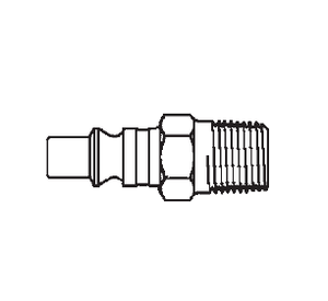 2608 Eaton Auto-Flo 23 Series Male Plug - 1/4-18 Male BSPT End Connection Pneumatic Quick Disconnect Coupling - Buna-N Seal - Steel